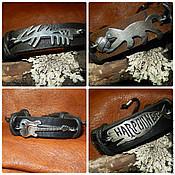 Украшения handmade. Livemaster - original item Bracelets leather.Leather,silver,gold,wax cord,hematite. Handmade.