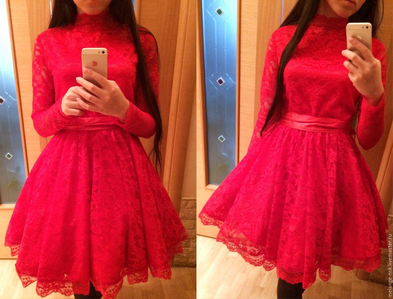Красные платья пышные кружевные