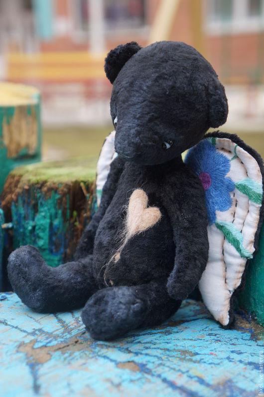 Мишки Тедди ручной работы. Ярмарка Мастеров - ручная работа. Купить Сказка старого дома, мишка-ангел. Handmade. Черный