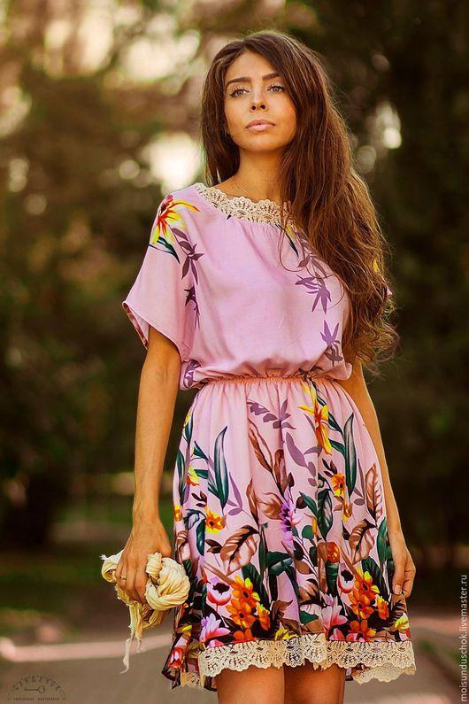 """Платья ручной работы. Ярмарка Мастеров - ручная работа. Купить Платье""""Танец цветов"""". Handmade. Платье летнее, романтический стиль, хлопок"""