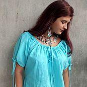 Одежда ручной работы. Ярмарка Мастеров - ручная работа Блуза из бирюзового шитья.. Handmade.