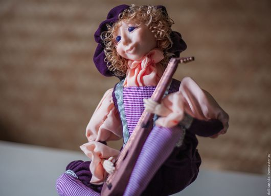Коллекционные куклы ручной работы. Ярмарка Мастеров - ручная работа. Купить музыкант. Handmade. Бежевый, запекаемый пластик, шелк