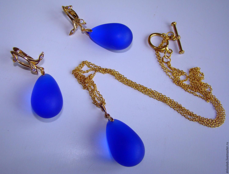 Gilded set with drops of jewelry glass Luxury of blue. Slobodskaya Luiba