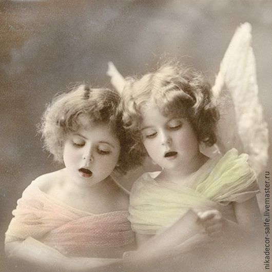 Декупаж и роспись ручной работы. Ярмарка Мастеров - ручная работа. Купить Поющие ангелочки (80025) 33х33 салфетка для декупажа. Handmade.