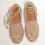 Обувь ручной работы. Ярмарка Мастеров - ручная работа Балетки уличные Лето в разгаре, беж, бохо. Handmade.