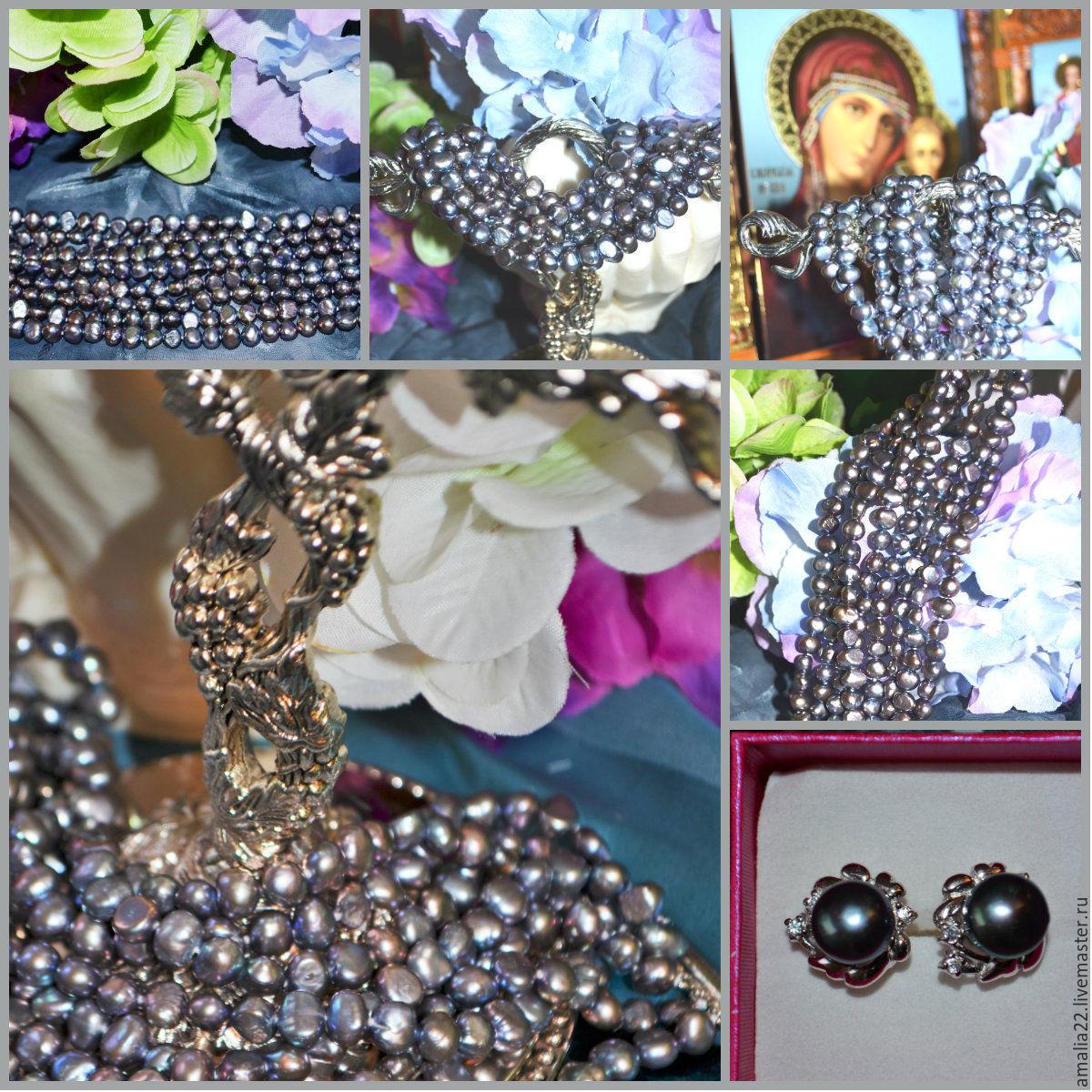 Bracelet Grey pearl Baroque. Pearls grey freshwater overflow, Bead bracelet, Moscow,  Фото №1