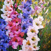 Картины и панно ручной работы. Ярмарка Мастеров - ручная работа Гладиолусы - картина акрилом на холсте, цветы. Handmade.