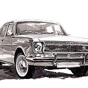 Картины и панно handmade. Livemaster - original item Poster A3 poster reproduction drawing Volga GAZ-24. Handmade.