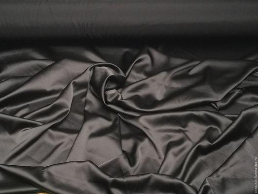 Ярмарка  Мастеров. Купить Атлас стретч ЧЕРНЫЙ, 140 см, 16 мм, натуральный шелк 5%, эластан 5%. Материалы для творчества. Купить Атлас с эластаном ЧЕРНЫЙ, шелк 95%, эластан 5%