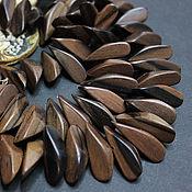 handmade. Livemaster - original item Kamagong Beads Black Ebony Nuggets 28h10mm. Handmade.