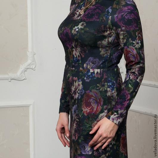 """Платья ручной работы. Ярмарка Мастеров - ручная работа. Купить Платье """"Пионы"""". Handmade. Разноцветный, цветочный принт, платье в офис"""