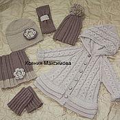 Работы для детей, handmade. Livemaster - original item Milena cardigan hat leg warmers Snood headband. Handmade.