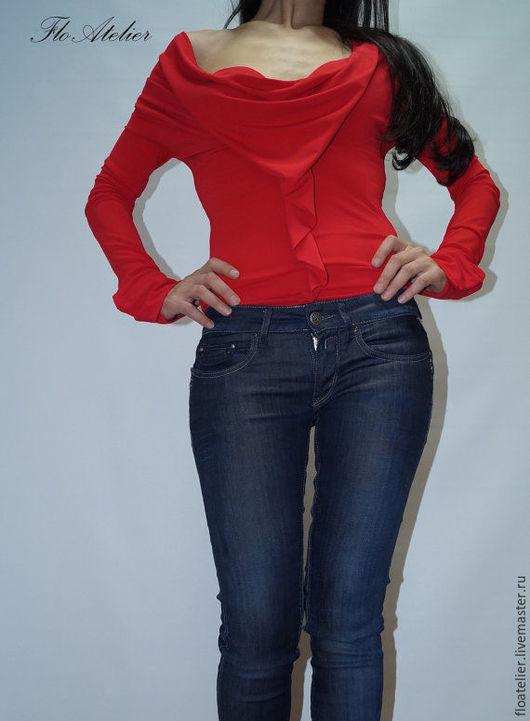 Блузки ручной работы. Ярмарка Мастеров - ручная работа. Купить Kрасная блузка/Тонкая рубашка с длинными рукавами/F1117. Handmade. Ярко-красный