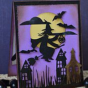 Подарки к праздникам ручной работы. Ярмарка Мастеров - ручная работа Открытка на Хэллоуин. Handmade.