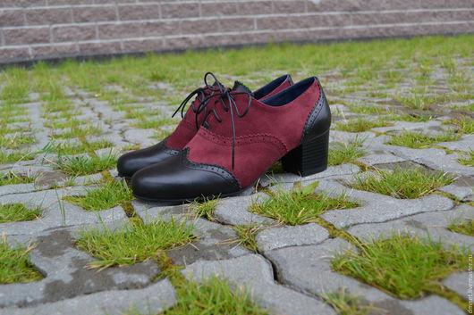 Обувь ручной работы. Ярмарка Мастеров - ручная работа. Купить Оксфорд комбинированный на каблучке. Handmade. Бордовый, удобная обувь