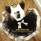 Карнавальный костюм ручной работы. Ярмарка Мастеров - ручная работа Костюм кошки: юбка пачка туту + футболка + ободок. Handmade.