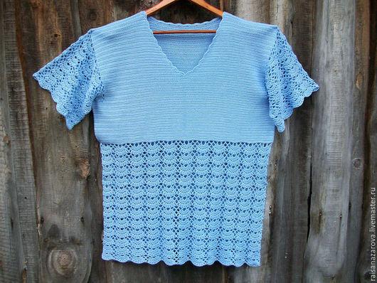 Блузки ручной работы. Ярмарка Мастеров - ручная работа. Купить Голубая блуза большого размера Незабудка. Handmade. Голубой, кофточка