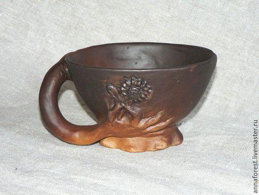 Кружки и чашки ручной работы. Ярмарка Мастеров - ручная работа. Купить Чашка Цветок в подарок. Handmade. Коричневый, цветок, глина