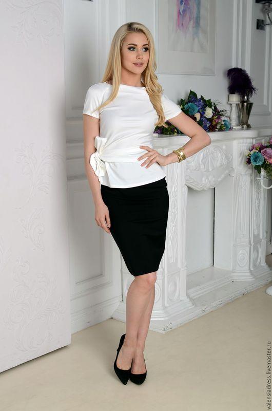 блузка нарядная, блузка белая, блузка с бантом