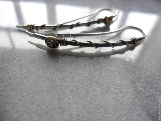 Серьги ручной работы. Ярмарка Мастеров - ручная работа. Купить серьги Вот такие огурцы, из серебра и латуни. Handmade.
