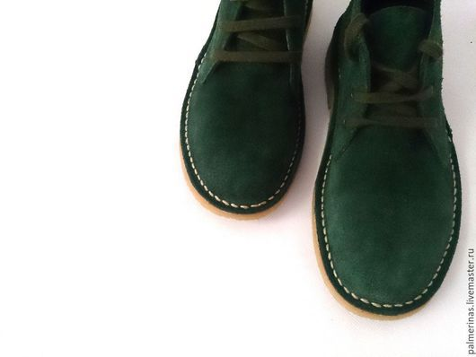 Обувь ручной работы. Ярмарка Мастеров - ручная работа. Купить Замшевые зеленые ботинки. Handmade. Болотный, детские ботинки
