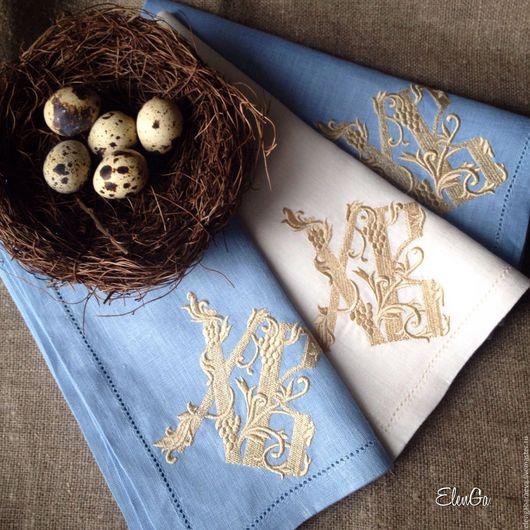 Подарки на Пасху ручной работы. Ярмарка Мастеров - ручная работа. Купить Пасхальная салфетка с вышивкой в корзину - Христос Воскрес( в голубом). Handmade.