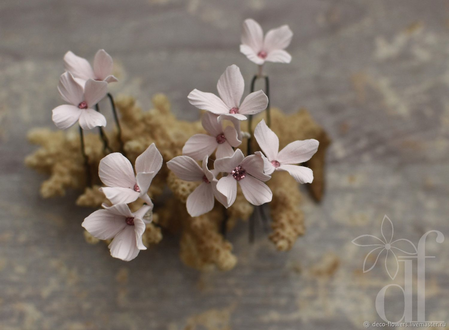 Wedding bobby pins tiny Blush pink flowers, Hair Decoration, London,  Фото №1