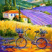 "handmade. Livemaster - original item Картина Прованс ""Велосипед на лавандовых полях"" холст масло. Handmade."