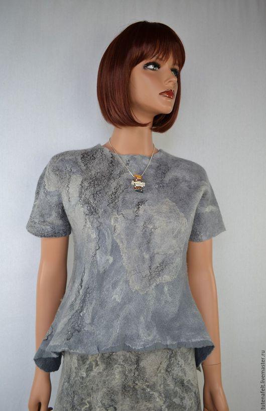 """Пиджаки, жакеты ручной работы. Ярмарка Мастеров - ручная работа. Купить Комплект, костюм валяный: юбка и топ  """"Ciel gris """". Handmade."""