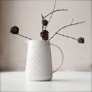 Посуда ручной работы. Ярмарка Мастеров - ручная работа Кувшин ручной работы с прорезным декором Канва. Handmade.