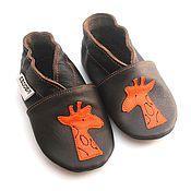 Работы для детей, handmade. Livemaster - original item Giraffe Baby Shoes, Moccasins,  Ebooba, Dark Brown Shoes, Handmade. Handmade.