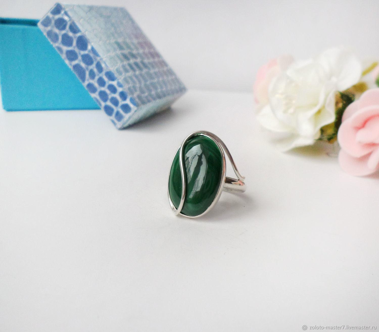 Серебряное кольцо с уральским  малахитом, Кольца, Чайковский,  Фото №1