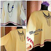 Одежда handmade. Livemaster - original item Cardigan style boho oversized with hand embroidery. Handmade.