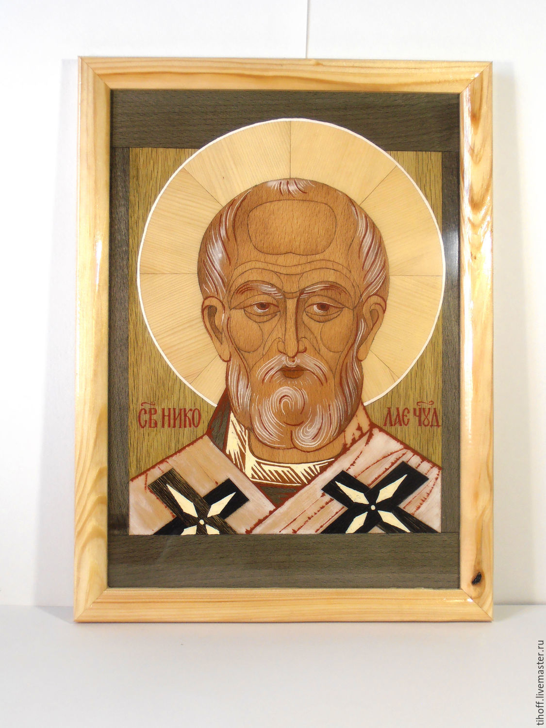 Saint Nicholas, a copy of the icon in the technique of marquetry, Icons, Slavyansk,  Фото №1