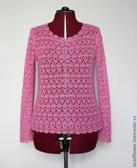 """Кофты и свитера ручной работы. Ярмарка Мастеров - ручная работа. Купить Кашемировый джемпер вязаный крючком """"Розовый коралл"""". Handmade."""