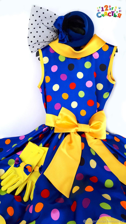 """Платье для девочки """"Стиляги (горошек на синем)"""""""
