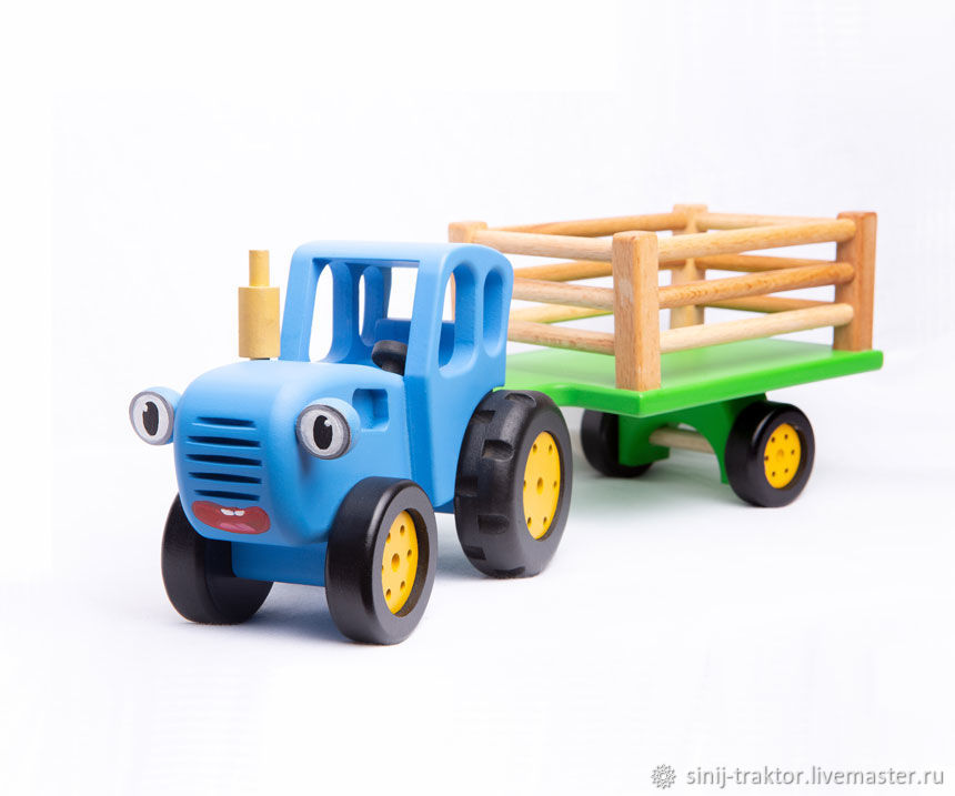 Деревянная игрушка Синий трактор с прицепом Бочарт, Техника роботы транспорт, Москва,  Фото №1