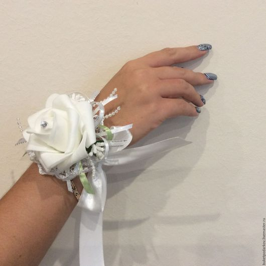 """Одежда и аксессуары ручной работы. Ярмарка Мастеров - ручная работа. Купить Браслет для подружки невесты """" Роза белая"""". Handmade."""
