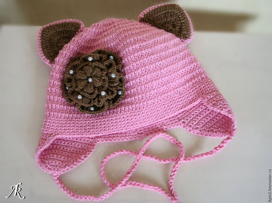 """Одежда для девочек, ручной работы. Ярмарка Мастеров - ручная работа. Купить Шапочка детская """"Мой котёнок"""". Handmade. Розовый"""