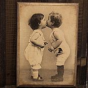 """Для дома и интерьера ручной работы. Ярмарка Мастеров - ручная работа Винтажное панно """"Первый поцелуй"""". Handmade."""