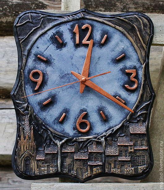 Часы для дома ручной работы. Ярмарка Мастеров - ручная работа. Купить Марктплац. Handmade. Настенные часы, гостиная, кожа, тонировка