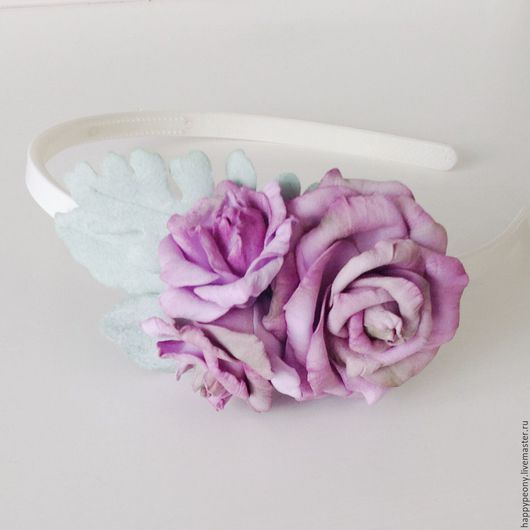 """Диадемы, обручи ручной работы. Ярмарка Мастеров - ручная работа. Купить Ободок """"Грёзы"""". Handmade. Бледно-сиреневый, ободок с розами"""