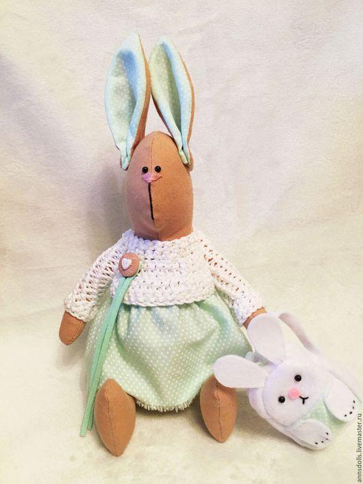 Куклы Тильды ручной работы. Ярмарка Мастеров - ручная работа. Купить Интерьерный заяц-тильда. Handmade. Мятный, игрушка тильда