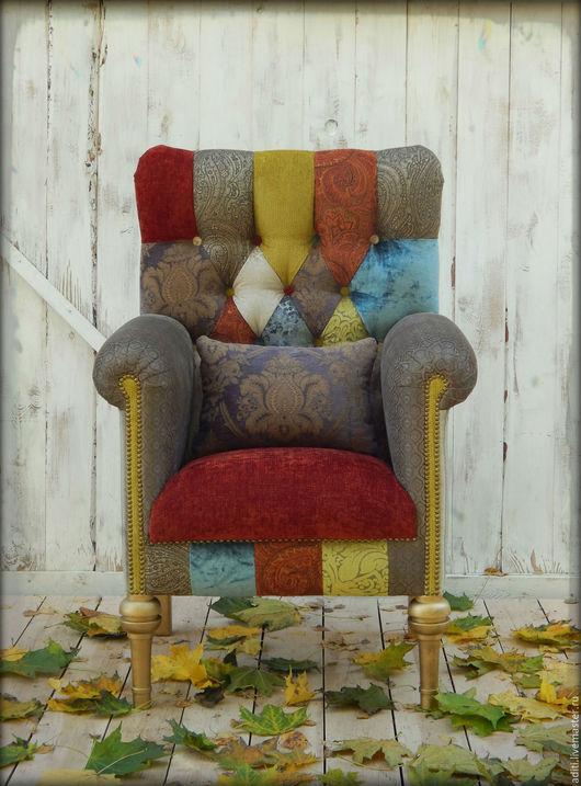 Мебель ручной работы. Ярмарка Мастеров - ручная работа. Купить кресло №76. Handmade. Мебель пэкворк, кабинет, холлофайбер