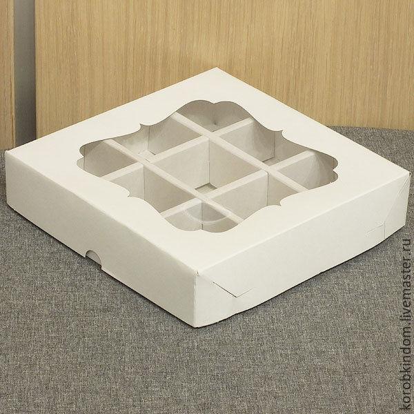 Коробка 16х16х3,5 с ячейками и окном белая крышка-дно, Материалы для творчества, Санкт-Петербург, Фото №1
