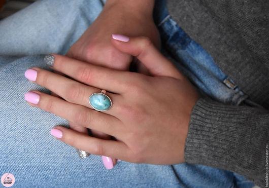 """Кольца ручной работы. Ярмарка Мастеров - ручная работа. Купить Кольцо с ларимаром """"Лагуна"""". Handmade. Бирюзовый, красивое кольцо"""