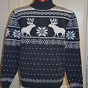 Одежда ручной работы. Ярмарка Мастеров - ручная работа Серый свитер с оленями. Handmade.