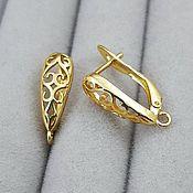 Материалы для творчества handmade. Livemaster - original item Earrings with lock 17 mm gold (3795). Handmade.