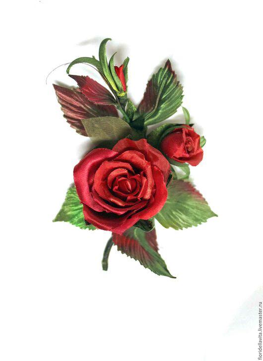 Цветы ручной работы. Ярмарка Мастеров - ручная работа. Купить Цветы из ткани. Веточка из красных роз-мини. Handmade.