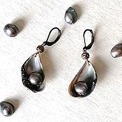 Украшения handmade. Livemaster - original item Earrings of sea shells with black pearl. Handmade.